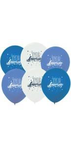 Lot de 3 ballons anniversaire garçon roi de la fête en latex bleu