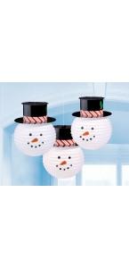 Lot de 3 Lanternes Bonhomme de neige D 24 cm