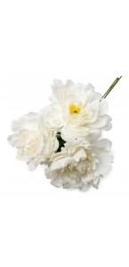 Lot de 3 pivoines blanches 12 cm en bouquet sur tige 30 cm