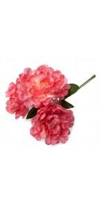 Lot de 3 pivoines fuschia 12 cm en bouquet sur tige 30 cm