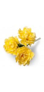 Lot de 3 pivoines jaunes 12 cm en bouquet sur tige 30 cm