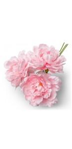Lot de 3 pivoines roses 12 cm en bouquet sur tige 30 cm