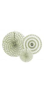 Lot de 3 rosettes décoratives vert clair 40/32/23 cm