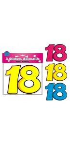 Lot de 3 stickers 18 ans