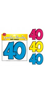 Lot de 3 stickers 40 ans