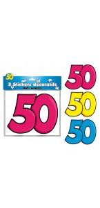 Lot de 3 stickers 50 ans