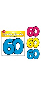 Lot de 3 stickers 60 ans