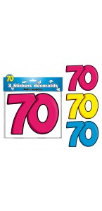 Lot de 3 stickers 70 ans