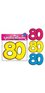 Lot de 3 stickers 80 ans