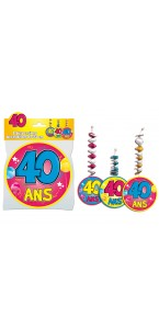 Lot de 3 Suspensions accordéon 40 ans assorties