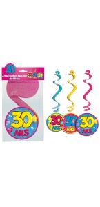 Lot de 3 Suspensions spirale 30 ans
