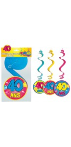 Lot de 3 Suspensions spirale 40 ans