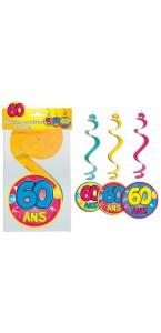 Lot de 3 Suspensions spirale 60 ans
