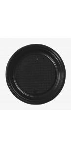 Lot de 30 assiettes ronde en plastique noir