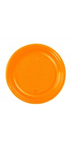 Lot de 30 assiettes ronde en plastique orange