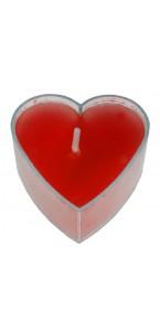 Lot de 4 bougies chauffe-plat cœur rouges 3,5 x 3,5 cm