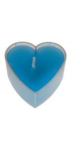 Lot de 4 bougies chauffe-plat cœur turquoise 3,5 x 3,5 cm