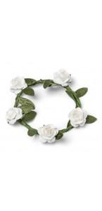 Lot de 4 Couronnes de fleurs blanches D 5 cm