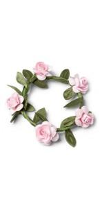 Lot de 4 Couronnes de fleurs roses D 5 cm