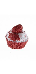 Lot de 4 Cupcakes rouge pailleté