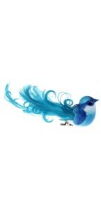 Lot de 4 oiseaux sur pince turquoise