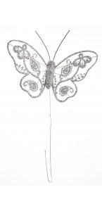 Lot de 4 papillons argent pailletés 9 cm