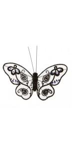 Lot de 4 papillons noir pailletés 9 cm