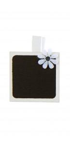 Lot de 4 porte-nom Ardoise carrée blanche sur pince