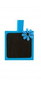 Lot de 4 porte-nom Ardoise carrée turquoise sur pince