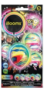 Lot de 5 ballons à led multicolores marbrés