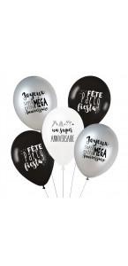 Lot de 5 ballons super anniversaire en latex noir et argent