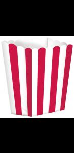 Lot de 5 boîtes Popcorn rouge