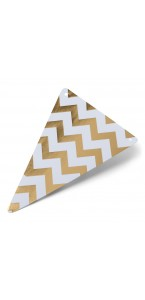 Lot de 5 Fanions triangles chevrons or 15 x 21 cm