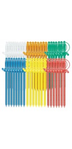 Lot de 50 piques épée  jetables coloris assortis H 8,1 cm
