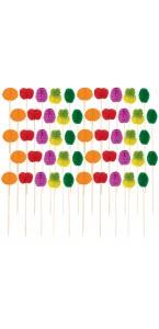 Lot de 50 piques fruit alvéolés jetables coloris assortis  H 10 cm