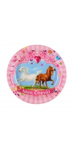 Lot de 6 assiettes jetables Mon cheval