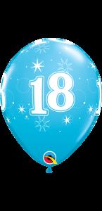 Lot de 6 ballons anniversaire Etoile 18 ans bleus en latex 27 cm