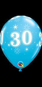 Lot de 6 ballons anniversaire Etoile 30 ans bleus en latex 27 cm