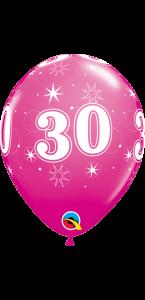 Lot de 6 ballons anniversaire Etoile 30 ans roses en latex 27 cm