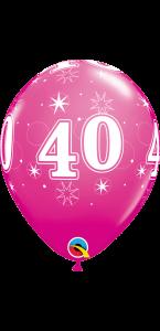 Lot de 6 ballons anniversaire Etoile 40 ans roses en latex 27 cm