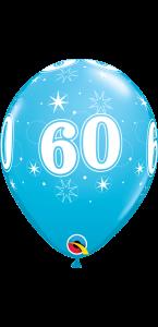 Lot de 6 ballons anniversaire Etoile 60 ans bleus en latex 27 cm