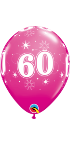 Lot de 6 ballons anniversaire Etoile 60 ans roses en latex 27 cm