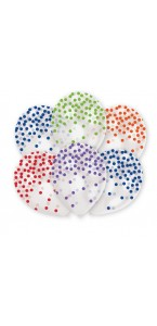 Lot de 6 ballons confettis multicolores en latex 27 cm