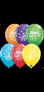 Lot de 6 ballons Happy birthday multicolores à pois en latex 27 cm