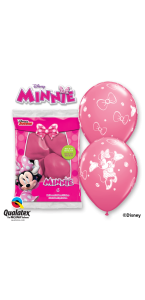 Lot de 6 ballons Minnie en latex rose 30 cm