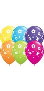 Lot de 6 ballons Papillons/Fleurs tropicales en latex multicolore 27,5 cm
