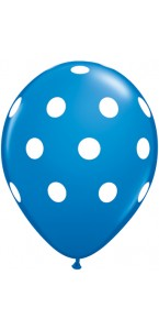 Lot de 6 ballons Polka Dots en latex bleu  27,5 cm