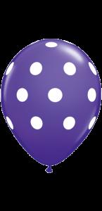 Lot de 6 ballons Polka Dots en latex violet 27,5 cm