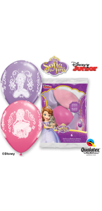 Lot de 6 ballons Princesse Sofia en latex rose et parme 30 cm
