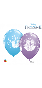 Lot de 6 ballons Reine des Neiges en latex bleu 30 cm